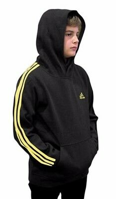 (Youth Xlarge 18/20, Fleece Pullover Hoodie, Black/Yellow) - adidas Youth