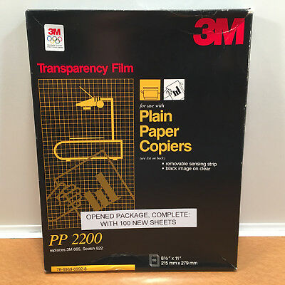 """3M Transparency Film For Copiers 100 Sheets 8.5"""" x 11"""" PP2200 OPENED Package"""