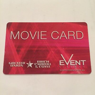 Event Cinemas Greater Union Movie Gift Card NO VALUE