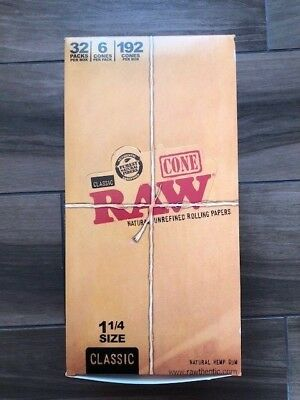 RAW Prerolled Cones 1 1/4 Rolling Papers Box 32 Packs 192 Cones pre-rolled