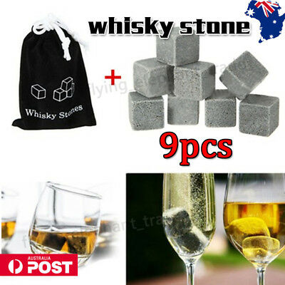 9Pcs Whiskey Stone Ice Cube Reuseable Icecubes Drinks Cooler Whisky Scotch Party