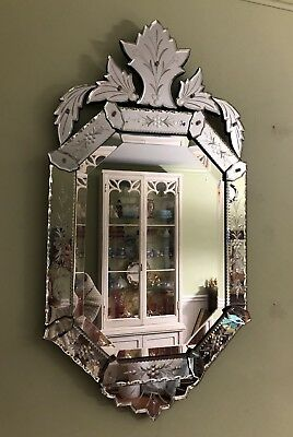 "Vintage Venetian Glass Mirror Etched Mid Century 37"" EUC Beautiful!"