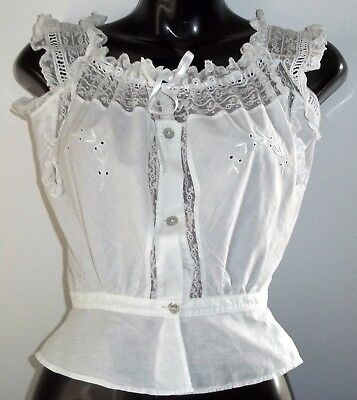 Vintage Crisp Irish White Cotton Chemise Camisole Peasant Top Wedding Lingerie