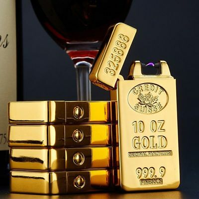 Electric Gold Brick Arch Pulse Plasma Cigarette USB Lighter Flameless Metal Gift