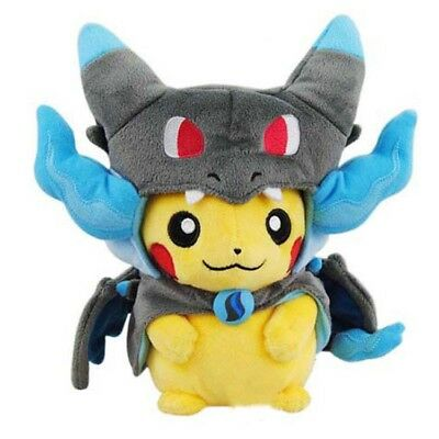 Pokemon Center Original Plush Doll Pikachu wearing a poncho of Mega Charizard