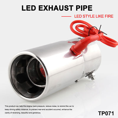Spitfire Car LED Exhaust Pipe Muff Tip Steel Staineless Chrome Red Light 70mm