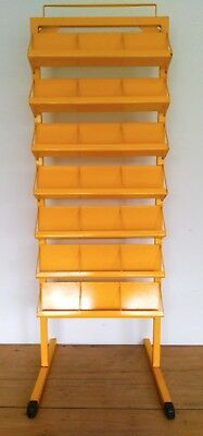 Shop display stand, metal sturdy bright yellow, portable, stall / farmers market