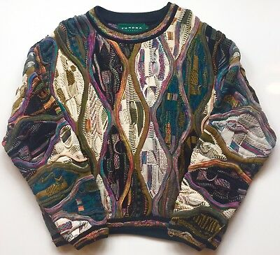 Size Large Vintage 90s Tundra Coogi Inspired Colorful Knit Woven Sweater Biggie