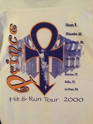 "PRINCE - VINTAGE PRINCE CONCERT T-SHIRT ""Hit and Run 2000"" TOUR - NEW Size L 44"