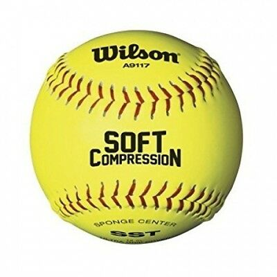 (28cm , Optic Yellow) - Wilson A9117 Soft Compression Softball (12-Pack)