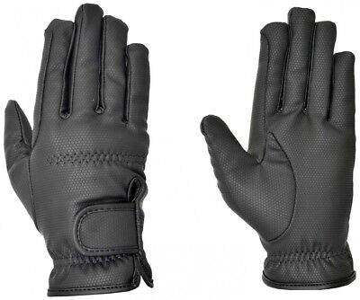 (Small, Black) - Riders Trend Embossed Synthetic PU Riding Gloves with