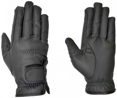 (X-Large, Black) - Riders Trend Embossed Synthetic PU Riding Gloves with