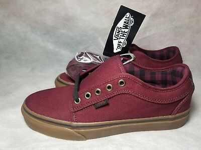 078a492e2c New Vans Chukka Low Pro Men Size 7 Canvas Plaid Leather Red Black Gum Skate  Shoe