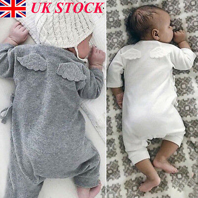 UK Newborn Infant Baby Girls Boys Long Sleeve Romper Back Wings Jumpsuit Outfits