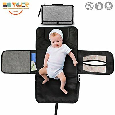 Buyger Portable Baby Changing Mat for Travel and Outside Soft and Waterproof wit