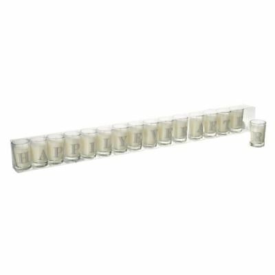 Happily Ever After 16 Mini Glass Candles Set Wedding Display or Gift