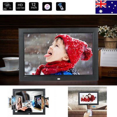 """Electric 12"""" HD LED Digital Photo Picture Frame MP3/4 Player+Remote Control AU"""