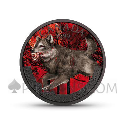 CANADA 2018 5$ WOLF 1oz SILBER, FARBE, RUTHENIUM, MIT COA IN HOLZBOX