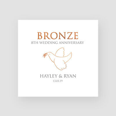 8th Wedding Anniversary.Personalised Handmade Dove 8th Wedding Anniversary Card Bronze For Them