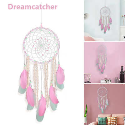 India Style Pink Dream Catcher With feathers Car Wall Hanging Crafts Decoration