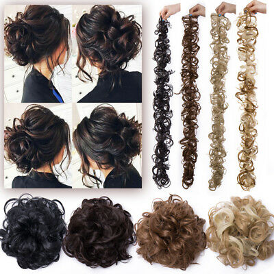 Messy Bun Wrap 0 Clip in Glue Hair Extension Curly Wavy Ponytail Chignon Wedding
