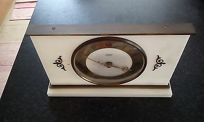vintage Tempora mantle clock   unusual stylish white/gold clock 1960/70,s