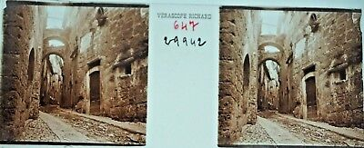 Verascope Richard Glass Slide Street Scene Ruins?  Europe Possibly France