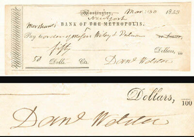 Daniel Webster signed Check