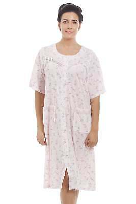 Camille Stylish Short Sleeve Cotton Blend Pink Floral Print Housecoat