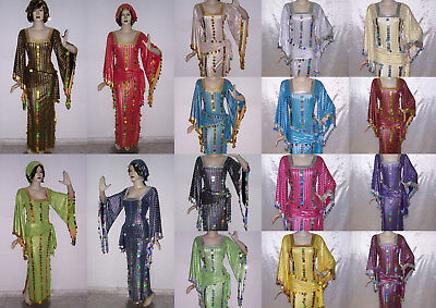 Belly Dance Baladi Galabeya Dress Egyptian Costume Dancing Wear + 2 Scarves T560