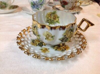 Vintage Napco China Footed Teacup and Saucer. Hand Painted  #SD181