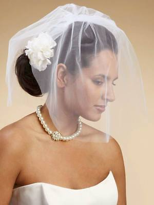 BRIDAL VEIL (2-Tier Blusher)  White