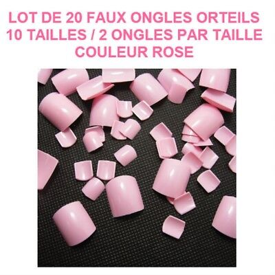 Lot 20 Capsules Tips Faux Ongle Rose Orteil Pied Pedicure Gel Vernis Ong703