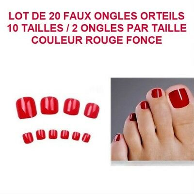 Lot 20 Capsules Tips Faux Ongle Rouge Orteil Pied Pedicure Gel Vernis Ong709
