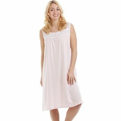 Camille Luxe Womens rose sans manches coton Modal Nightdress