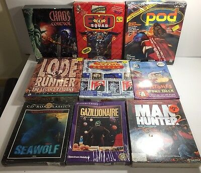 Lot Of 9 Vintage Sealed PC Games Manhunter 2 Pod EXO Squad Seawolf Gazillionaire