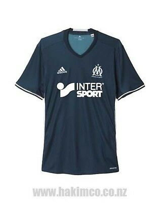 Adidas Olympique Marseille Football Away Navy Jersey Shirt Size Large EVRA 21