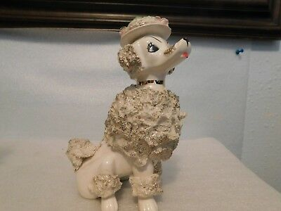 Ceramic White with Gold  Poodle Figurine, Unknown Maker