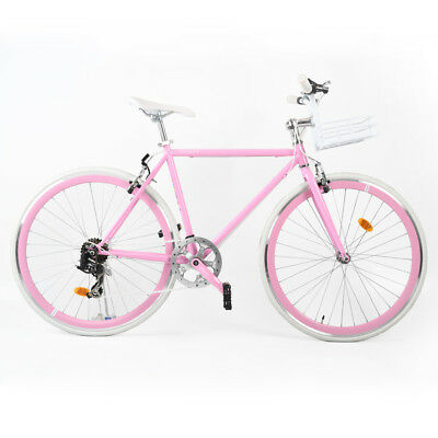 700C CITY ROAD Bike 7 Speed Steel Frame Road Bikes Bicycle Pink ...