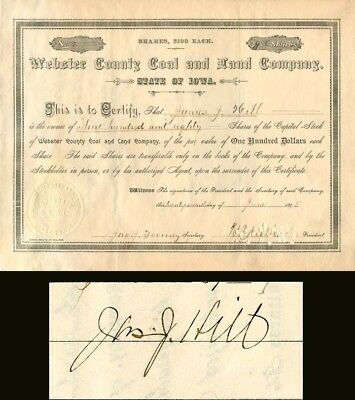 Webster County Coal and Land Company signed by James J Hill