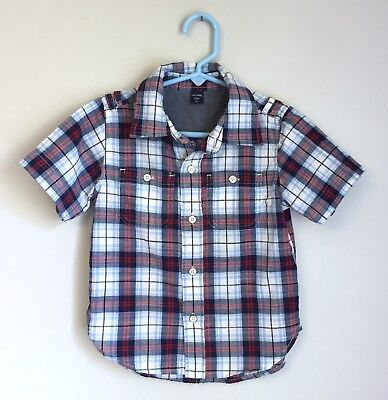 Baby Gap Plaid Summer SS Button Front Red White Blue Boys 3T 3