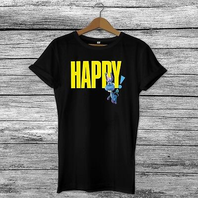 Happy! Netflix Series TV Show Logo Unicorn Inspired T-Shirt Top - Black