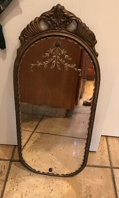 Antique 1930's Nurre Maestro Ovalwall Mirror Wood Frame Gesso Gold