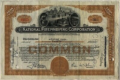 1937 National Fireproofing Corporation Stock Certificate Natco