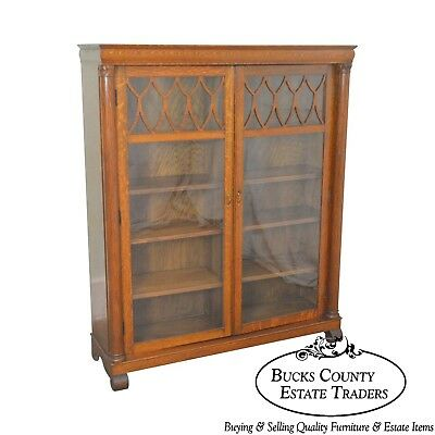 Larkin Antique Oak Empire Revival 2 Door Bookcase
