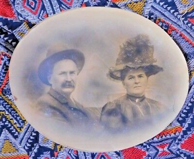 """ANTIQUE LARGE 17 BY 13.75 """" OVAL CONVEX PHOTO EARLY 1900's MAN & WOMAN IN HATS"""