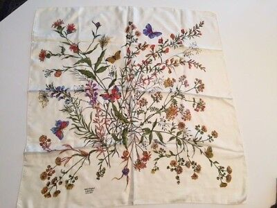 Silk Scarf Vintage Liberty of London Ivory Floral Print Rolled