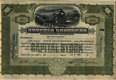 1934 Norfolk Southern Railroad Company Stock Certificate Virginia