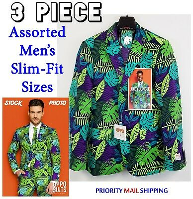 OppoSuits Mens Slim Fit Novelty Suit & Tie Set Tropical Juicy Jungle NWT $99R