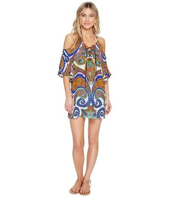 c01d1082de2f Trina Turk Women's Pacific Paisley Off-the-Shoulder Tunic Cover up NWT size  M